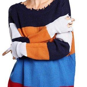 Womens Turtleneck Long Sleeve Stripe Ribbed